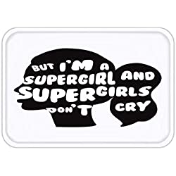 Cupsbags Doormat i m a Supergirl and supergirls Don t Cry Superhero Print Minimalist Background Vector