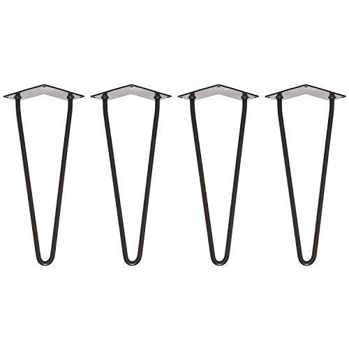 Hurricom Haarnadel Tischbeine, 4er Set Mitte des Jahrhunderts Modern Stil DIY Hairpin Legs Schwarz mit Doppelstab, Bodenschoner, Schrauben, 35cm für Couchtisch