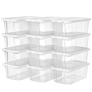 SONGMICS 12 Set Shoe Boxes with Lids Stackable Shoe Organiser Versatile Storage Organiser for Shoes and Crafts Sizes Up to UK 8 Transparent LSP12WT