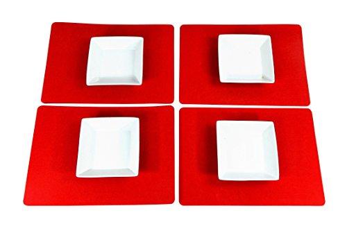 Juego mesa 4 pzi. Fieltro 43 x 30 cm rectangular Rojo