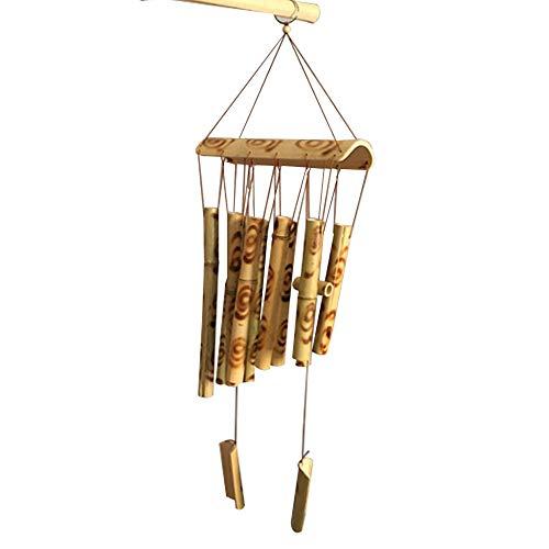 Carillón Viento Bambú, Carillón Campanas de Viento Madera de Coco y Bambú Hecho a Mano Colgante de Campanadas Relajante Bambú Decoración Jardín Patio Al Aire Libre