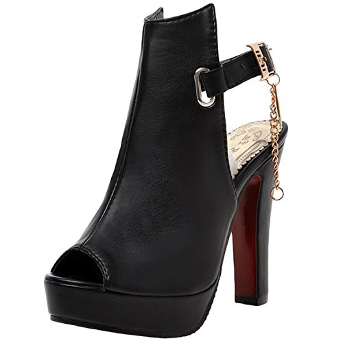 Heels Platform Women's Oasap Slingback Sandals Peep Toe Black High 4aCFOwq