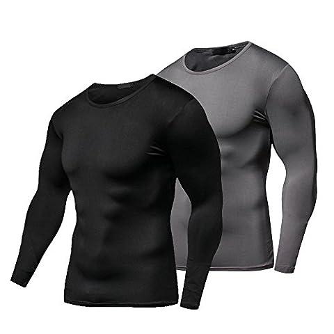 Fitibest Séchage rapide de Compression Sous-vêtements T-Shirt Manches Longues T-shirt de Sport Vêtements pour Hommes, 2 Pièces (XL, noir et gris)