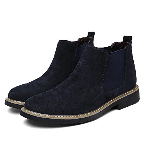 LILY999 Herren Chelsea Boots Wildleder Warm Gefütterte Stiefeletten Flache Winterstiefel Wasserdichte Winterschuhe Schneestiefel Knöchelhohe Stiefel Dunkelblau