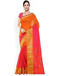 Harikrishnavilla Women's Silk Cotton Saree With Blouse Piece (Yellow Orange Patta., Free Size)