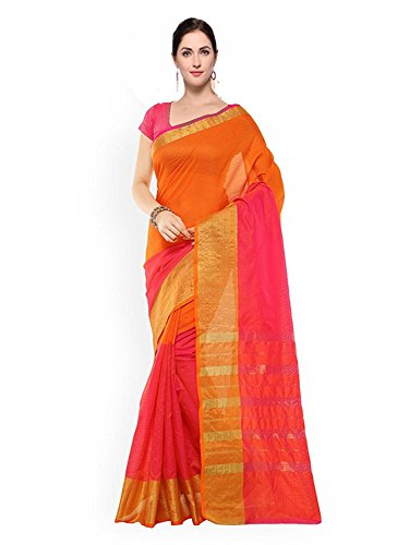 PerfectBlue Cotton Silk Saree With Blouse Piece (Halforange_Half Orange_Free Size)