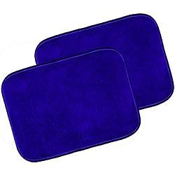 """Warmland Anti Skid Solid 2 Piece Polyester Door Mat-15""""x 22"""", Blue"""