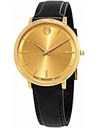 Movado Women's Ultra Slim 35mm Black Leather Band Swiss Quartz Watch 0607157