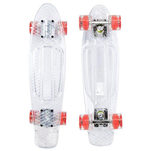 Charles Bentley - Mini-Skateboard im Retro-Stil der 70er-Jahre - LED-Rollen - 56 cm - Weiß