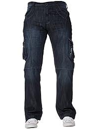 Crosshatch Herren Jeans Straight Fit Designer Markiert Sportlich Schick Hose