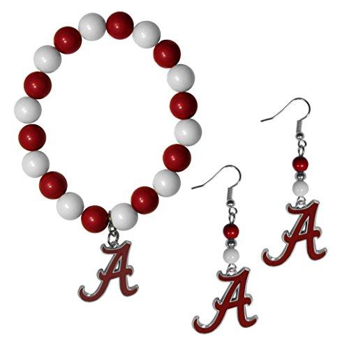 Damen Crimson Kostüm - Siskiyou Damen Alabama Crimson Tide Fan Perle Ohrringe und Armband-Set, Rot, baumeln