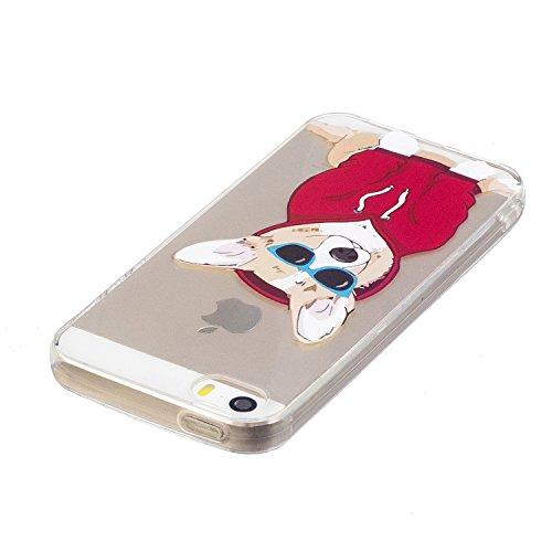 iPhone 5S / iPhone SE Hülle, Voguecase Silikon Schutzhülle / Case / Cover / Hülle / TPU Gel Skin für Apple iPhone 5 5G 5S SE(Aquarell 12) + Gratis Universal Eingabestift Corgi