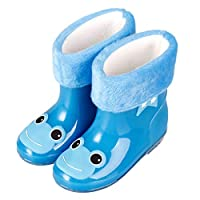 EdBerk74 Anti-Slip Rain Boots for Children Kids Infant Baby Rainboots Cartoon Rubber Waterproof Warm Boots Boys Girls Rain Shoes-middle blue(25)