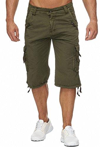 Herren Cargo-Shorts · Relaxed Fit · 3/4 Bermuda · Sommer Shorts · Kurze Freizeit Hose · 100% Reine Baumwolle · Walkshort · Unifarben · H1803 in Markenqualität (Relaxed Fit Shorts)