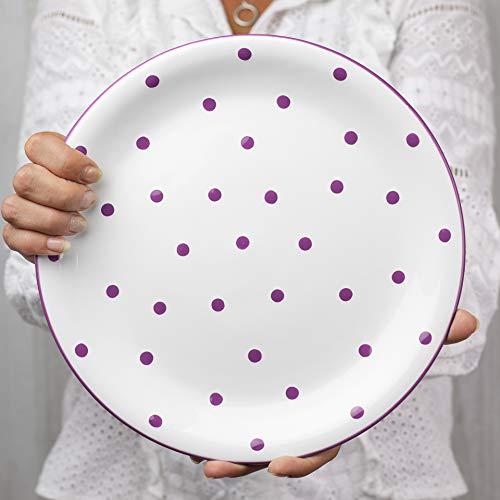 City to Cottage   Assiette plate   blanche à pois violets en céramique faite et peinte à la main   25,5cm