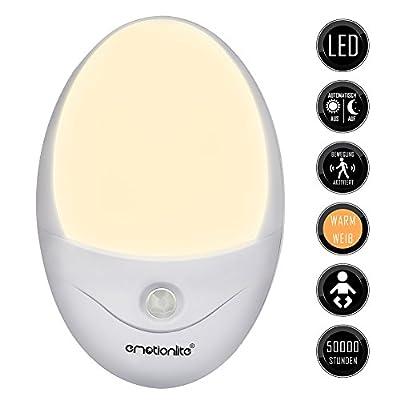Emotionlite 2 Stück LED Nachtlicht mit Bewegungsmelder und Dämmerungssensor Plug in Kinder Nachtlicht Sehr gut für Kinderschlafzimmer Badezimmer Flur Treppenaufgang Korridor Einbauschrank oder ein dunkles Zimmer Warmesweißes 2700 K von Emotionlite auf
