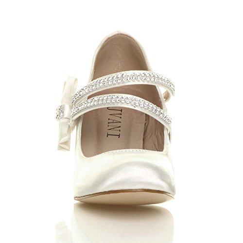 Scarpe bambina mary jane matrimonio elegante party damigella d'onore taglia Fiocco in raso avorio