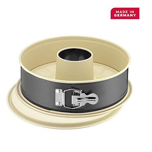 Kaiser Inspiration Plus Springform 26 cm rund, 2 Böden, Flach- und Rohrboden, runde Backform, antihaftbeschichtet, auslaufsicher, mit Rezept