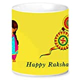 Jikraa Rakhi Gift for Raksha Bandhan, Rakhi Ceramic Coffee Mug,Rakhi Gift for Brother, Birthday Special Gift, Bhaiyadooj Gift Item,Yellow Happy Raksha Bandhan Rakhi Design