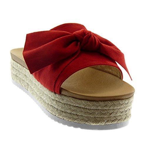 Angkorly Chaussure Mode Sandale Mule Slip-On Plateforme Femme Noeud Corde Tréssé Talon Compensé Plateforme 4.5 cm Rouge