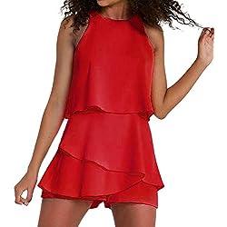 iHAZA Combinaison sans Manches À Volants en Mousseline De Soie pour Femmes Pantalon Décontracté À Jambes Larges Clubwear