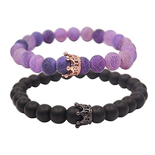 (Jlbuay Paar Abstand Armbänder für Liebhaber 8mm Perlen für Männer Frauen Krone Matt Achat Armband Schwarz Verstellbar Violett)