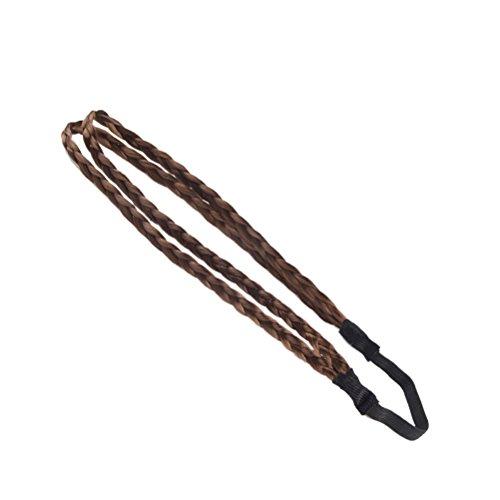 OULII Bandeau de tresse de cheveux de mode Tresse tressée Pièce de cheveux synthétiques (brun clair)