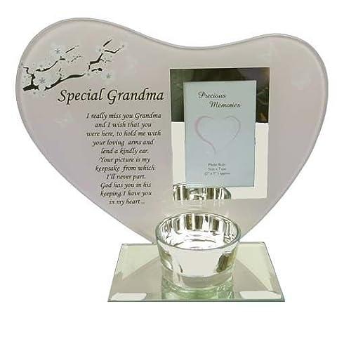 Glass Photo Frame Grandma Memorial Candle Holder Family Decoration