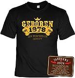 T-Shirt 40 Geburtstag - Geburtstagsshirt + Blechschild - Sprüche Jahrgang 1978 : Geboren 1978 zur Perfektion Gereift & Jahrgang 1978 - Geschenk-Shirt + Schild 40.Geburtstag Mann/Frau Gr: XXL