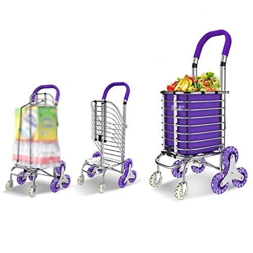 JAG Trolley Treppe Einkaufen Faltbare Haushalt Tragbare Aluminiumlegierung Kristall Lager Stille Rad Kann 75Kg Gewicht (Farbe: Lila)
