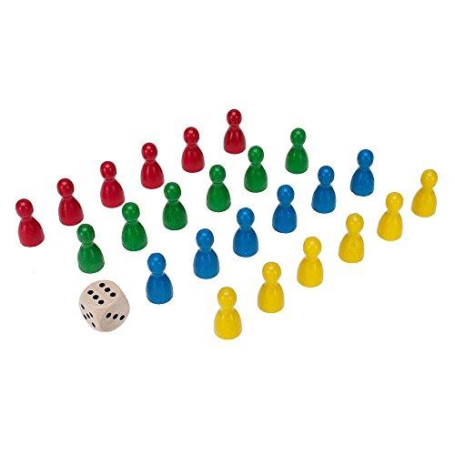 GICO Spielkegel 24 Stück aus Holz Halmakegel 24x12 mm und 1 Würfel mit Augen 16 mm aus Holz - 12mm Gelb Würfel In