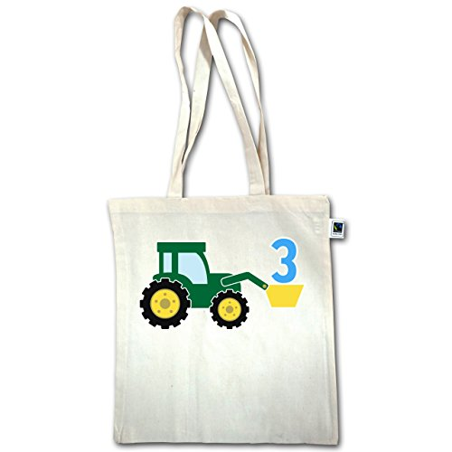 Geburtstag Kind - 3. Geburtstag Traktor - Unisize - Natural - XT600 - Jutebeutel lange Henkel
