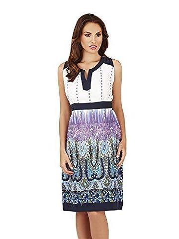 Pistachio, Ladies Paisley Print Knee Length Tunic Blouse Dress, Blue