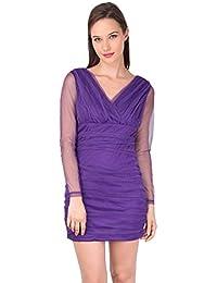 Night Mesh Evening Dress- Purple
