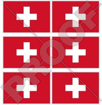 SCHWEIZ Schweizerische Flagge, Fahne Suisse 40mm Mobile, Handy Vinyl Mini Aufkleber, Abziehbilder x6 Stickers