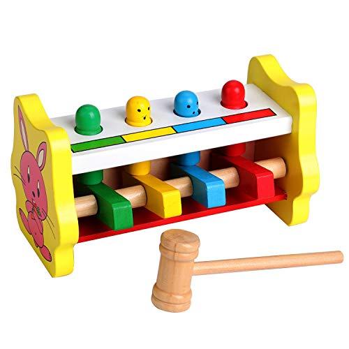 Gehirn Spiel Holzspielzeug Stampfen Bank Holz Mallet Spiel für Baby Kleinkinder & 1 Jahr alt, sensorische Spielzeug Hammer & Peg Spielzeug für Jungen, Mädchen & Kinder, hölzerne Hammerbank Lernspiele