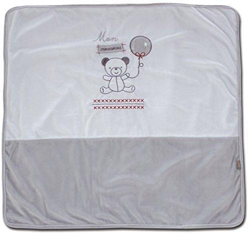 Les Chatounets Couverture Emmaillotage Motif Ourson Blanc/Gris 80 x 80 cm