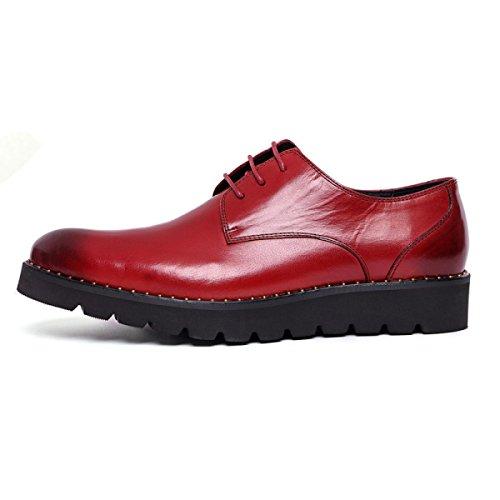GRRONG Herren Lederschuh Formelle Kleidung Freizeit Gesch盲ft Schwarz Und Rot Red