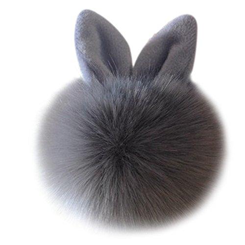 tonsee-kaninchen-pelz-ball-tasche-plusch-auto-schlusselanhanger-grau