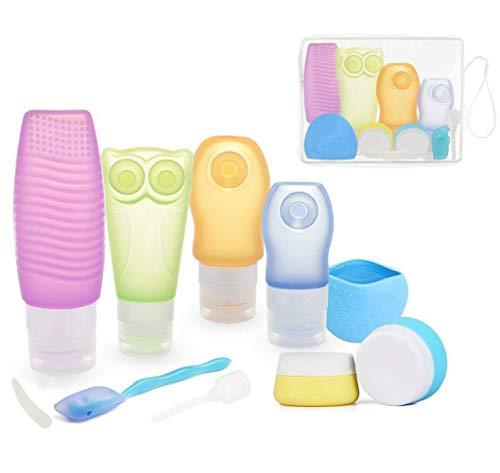 Silikon Reise Flaschen Set,ieGeek 10 Pack Körperpflege Travel Flaschen für Flüssigkeiten mit Kulturbeutel, BPA frei nachfüllbar Auslaufsicher Creme Topf für Shampoo, Toilettenartikel, Lotion, Sunblo -