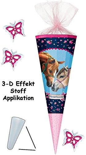 alles-meine.de GmbH mit 3-D Effekt - Schmetterlinge ! - Schultüte -  Pferdefreunde - Pferde  - 85 cm - 12 eckig - Organza Abschluß - Zuckertüte - Nestler - mit / ohne Kunststof.. -