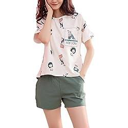 Pijamas Mujer 2 Piezas Cortos Pijamas de Animales Camisones Camison # Blanco M