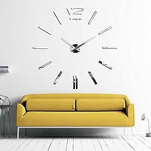 XXL3D Grande Horloge Murale XXL 130cm Miroir Geante Pendules Murales III