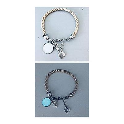 Bracelet phosphorescent beige avec pendentif aile d'ange, bijoux, bracelet, bijou, bracelets, bijoux cadeaux, cadeau ado fille