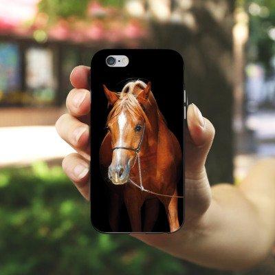 Apple iPhone X Silikon Hülle Case Schutzhülle Pferd Horse Stute Hengst Silikon Case schwarz / weiß