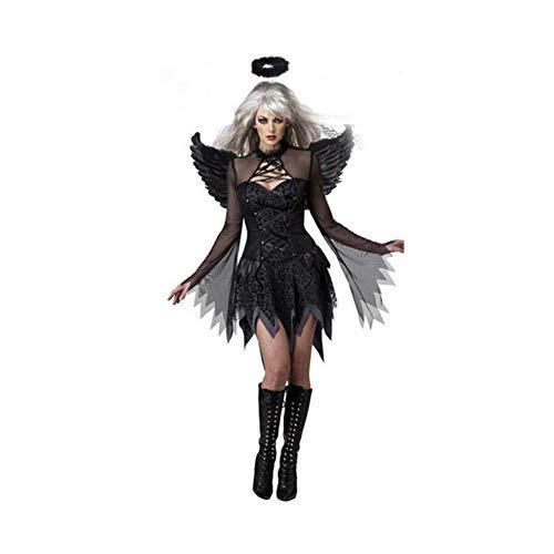 (YaXuan Frauen Halloween Sexy Dark Angel Kostüm Spiel Uniform Vampir Braut Teufel Dämonen, Familie Halloween Kostüm Outfit Outfit Set (Farbe : Schwarz, Größe : M))