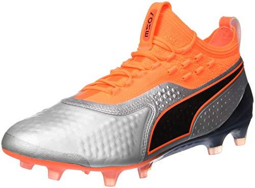 Puma One 1 Lth Fg/AG, Scarpe da Calcio Uomo, Argento Silver-Shocking Orange Black 01, 42.5 EU