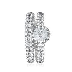 Idea Regalo - iLove EU, orologio da polso da donna, con quadrante rotondo, con strass, con perle finte, in lega, analogico, al quarzo, elegante, argento, oro rosato e base metal, colore: argento, cod. ANM2017031166