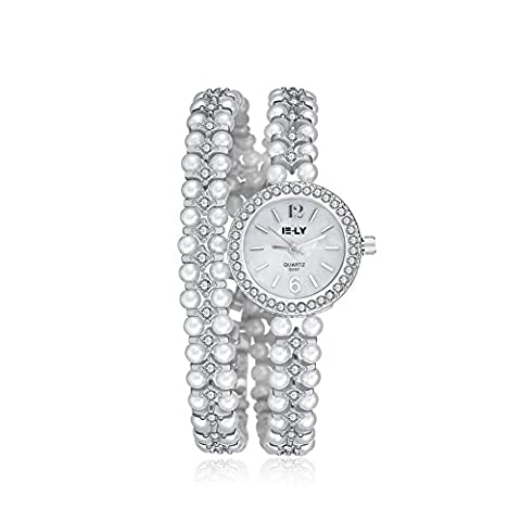 iLove EU Damen Armbanduhr Strass Runde Zifferblatt Imitation Perlen Legierung Band Analog Quarz Uhr Charm Charme Silber