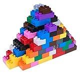 Ensemble de 204 Briques de Construction n°3 Big Briks - pour Grosses Briques/avec Gros tenons - Compatible avec Les Plus Grandes Marques - Bleu, Vert, Rouge, Jaune, Noir, Marron et Plus